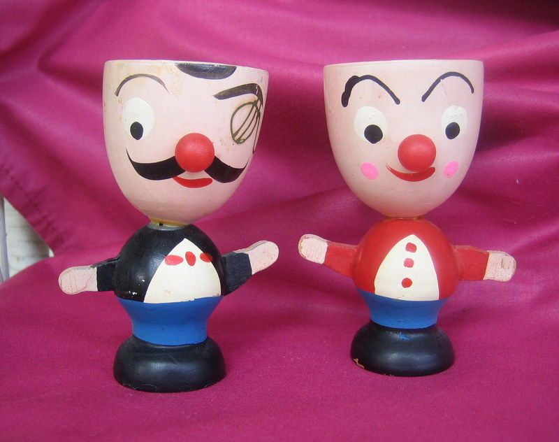 2 WOODEN CHARACTER EGG CUPS ~ MADE IN JAPAN ~ VINTAGE ~ FACES