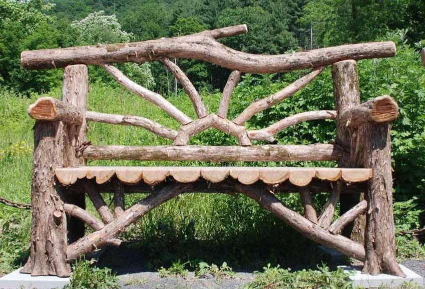 Cute rustic garden bench