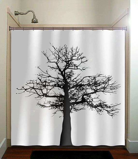 Gray Black Tree Shower Curtain Bathroom Decor Fabric Kids Bath White Custom Color Curtains