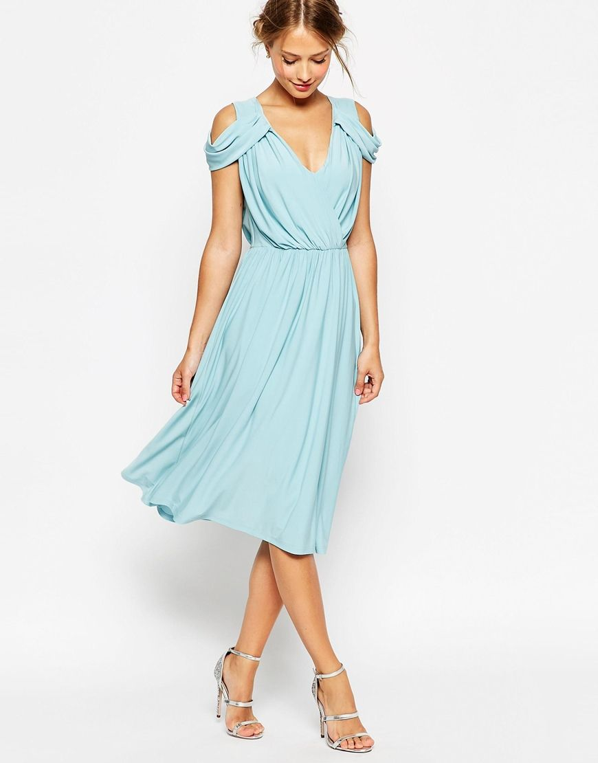 Image 1 of ASOS WEDDING Drape Cold Shoulder Midi Dress | sweet ...