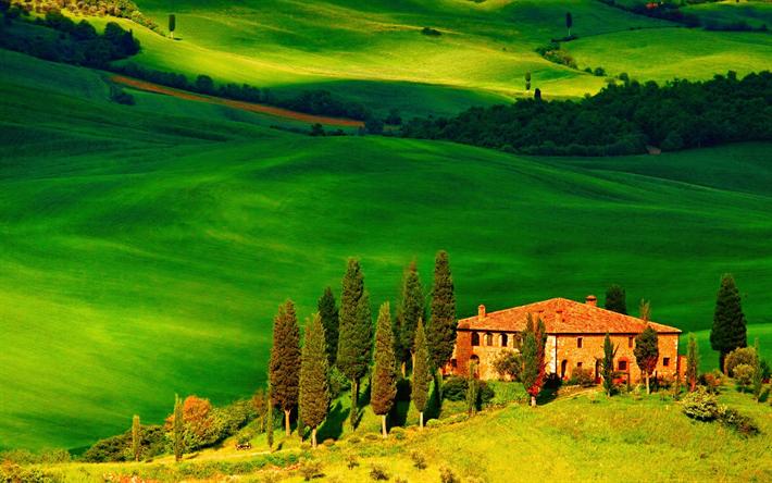 Lataa kuva Toscana, kenttä, kesällä, talo, hills, Euroopassa, Italia
