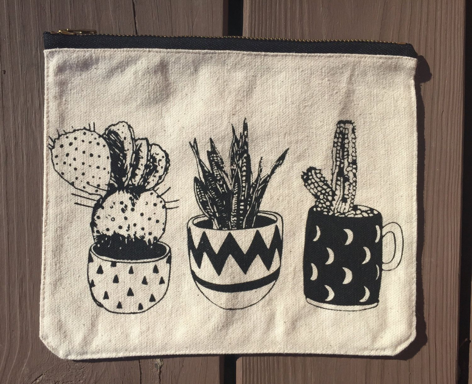 Handmade Plant Lover Zipper Pouch, Canvas, Brass Zipper, Leather Pull, Screen Printed, Prickly Pear Pouch, Plant Addict Utility Pouch by SeleApparel on Etsy