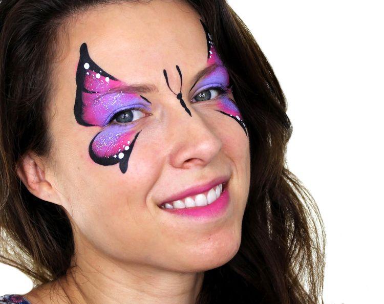 Schmetterling Schminken Frau Einfach Makeup Fasching Carnival