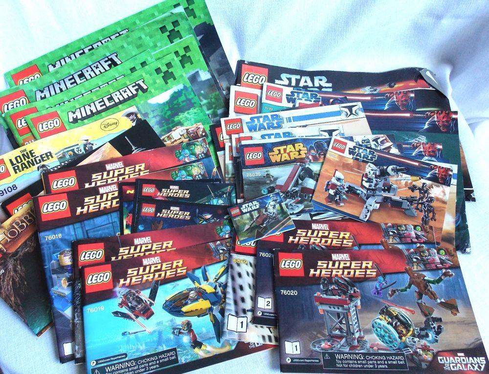 Lot Of 31 Lego Instruction Books Star Wars Super Heros Minecraft