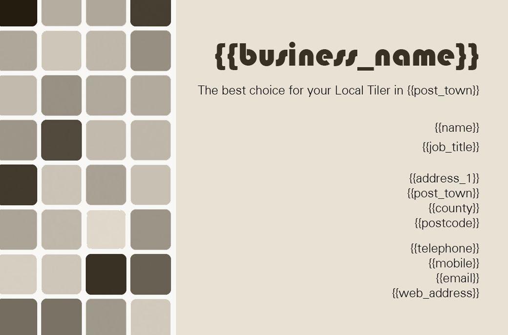 Tiler Business Card Front Designed By Me At Nic S Designs Tiler Name Cards Names