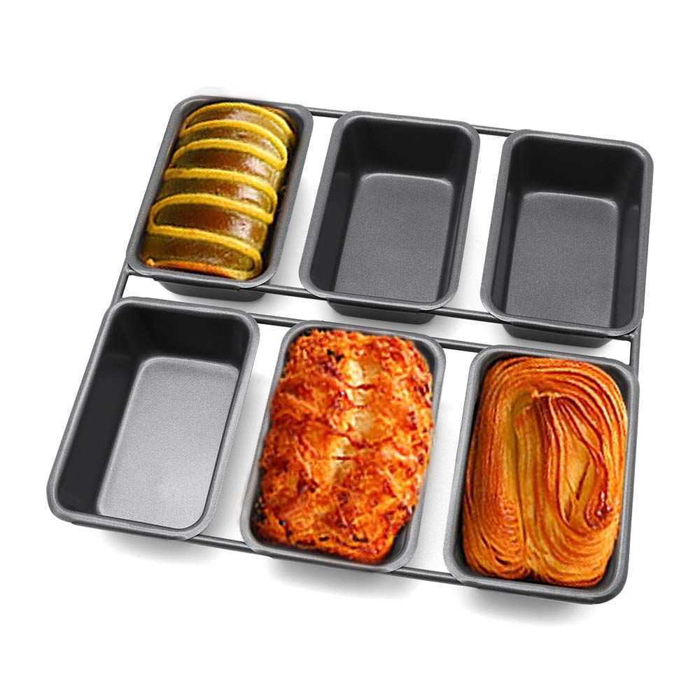 6 Cavity Square Loaf Baking Pan Homarty Nonstick Mini Loaf Bread