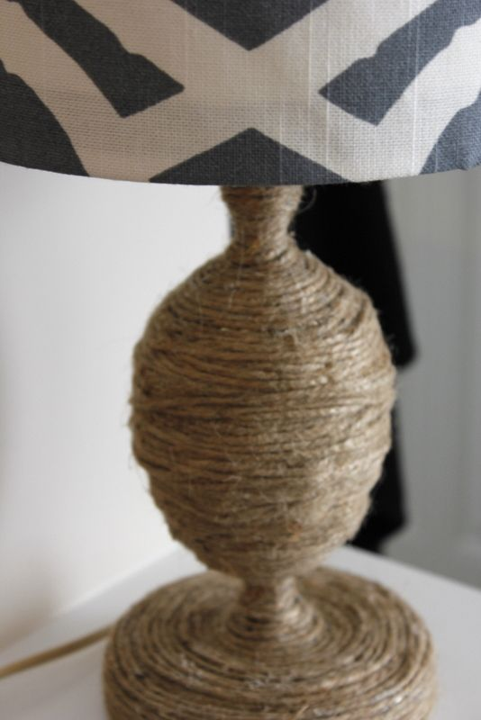 Refresh A Lamp By Wrapping The Base In Twine And Giving It A New