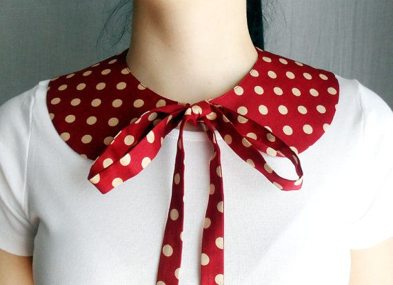 Red polka dot detachable collar  One of a kind by AliceCloset