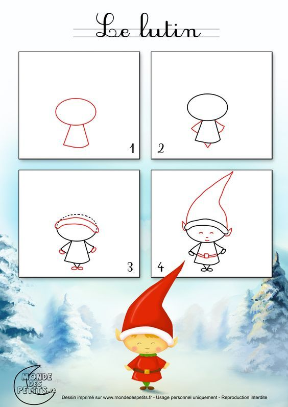 Dessin1 Comment Dessiner Un Lutin De Noël Dessin Noel