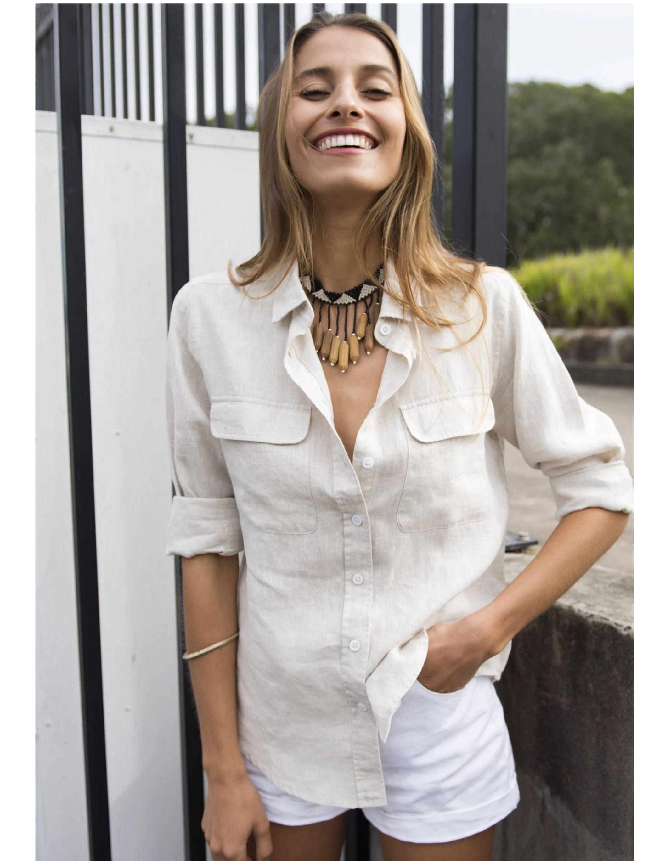 Best Linen Shirts For Women Light And Airy Picks For Summer Linen Shirt Outfit Fashion Linen Shirts Women [ 2736 x 2113 Pixel ]