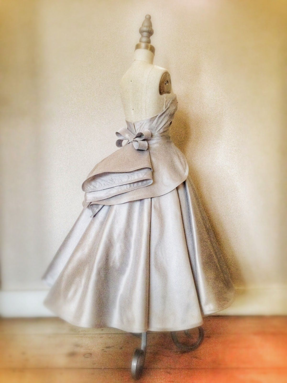 Joanne Fleming Design: Dovima.....a full-skirted tea-length wedding or red carpet dress in pale grey silk...sneek peek