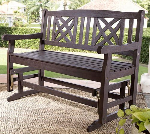 Outdoor Wood Glider Bench Rocking Chair Loveseat Porch Lawn Patio Rocker Swing Outdoor Wood Affordable Outdoor Furniture Outdoor Furniture