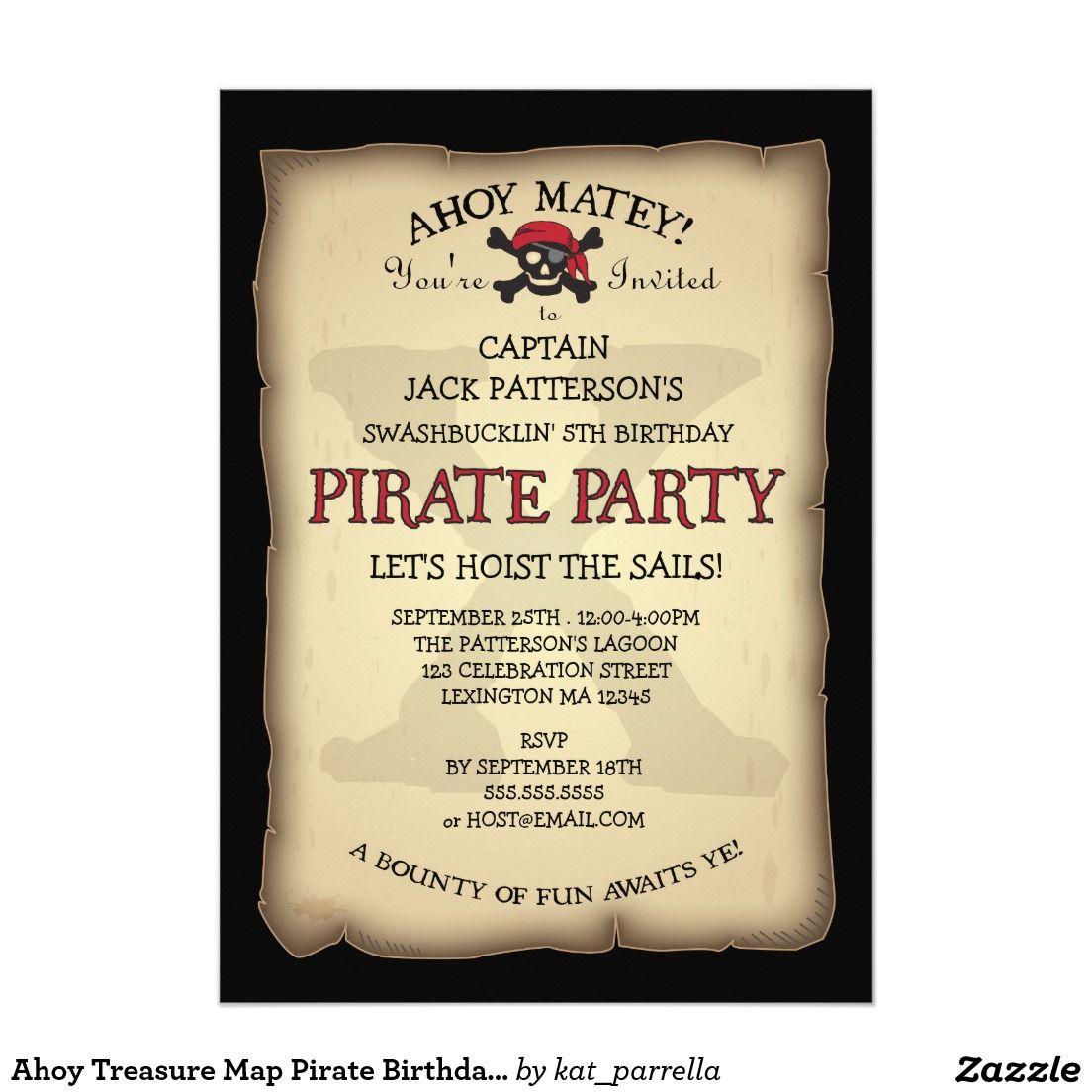 Ahoy Treasure Map Pirate Birthday Party Invitation 5\