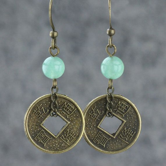 Antique Coin Hoop Earrings Bridesmaid Gift Gift For Her Wedding