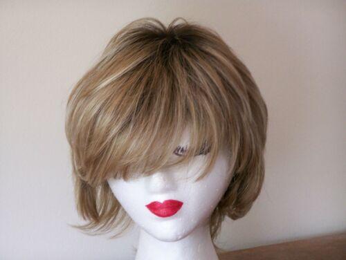 Noriko Sky Layered Short Wig-Nutmeg-Rooted Light Ash Blonde, Med Brown Rooted #lightashblonde