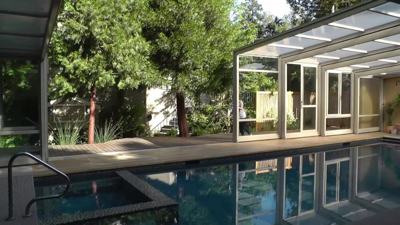 Woman Opens Retractable Lean To Enclosure Project 1420 In 2020 Pool Enclosures Swimming Pool Designs Pool