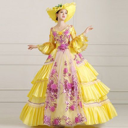 22c7b44dad82 Queen Marie Antoinette Inspired Stage Costume Prom Pageant Dress  Quinceanera Dress Masquerade Ball Gown YELLOW