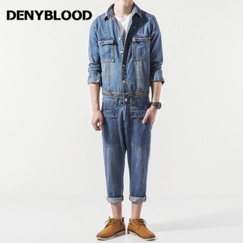 b68e2e96 Denyblood Jeans Mens Denim Overalls Jeans Pants Bibs Casual Worker ...