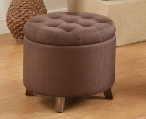 Stupendous Fabric Round Ottoman Chocolate White Products Tufted Spiritservingveterans Wood Chair Design Ideas Spiritservingveteransorg