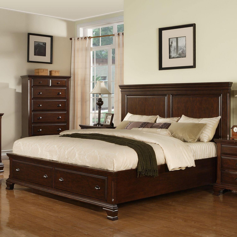 Brinley Cherry Storage Bed Choose Size Kamar Tidur Tidur