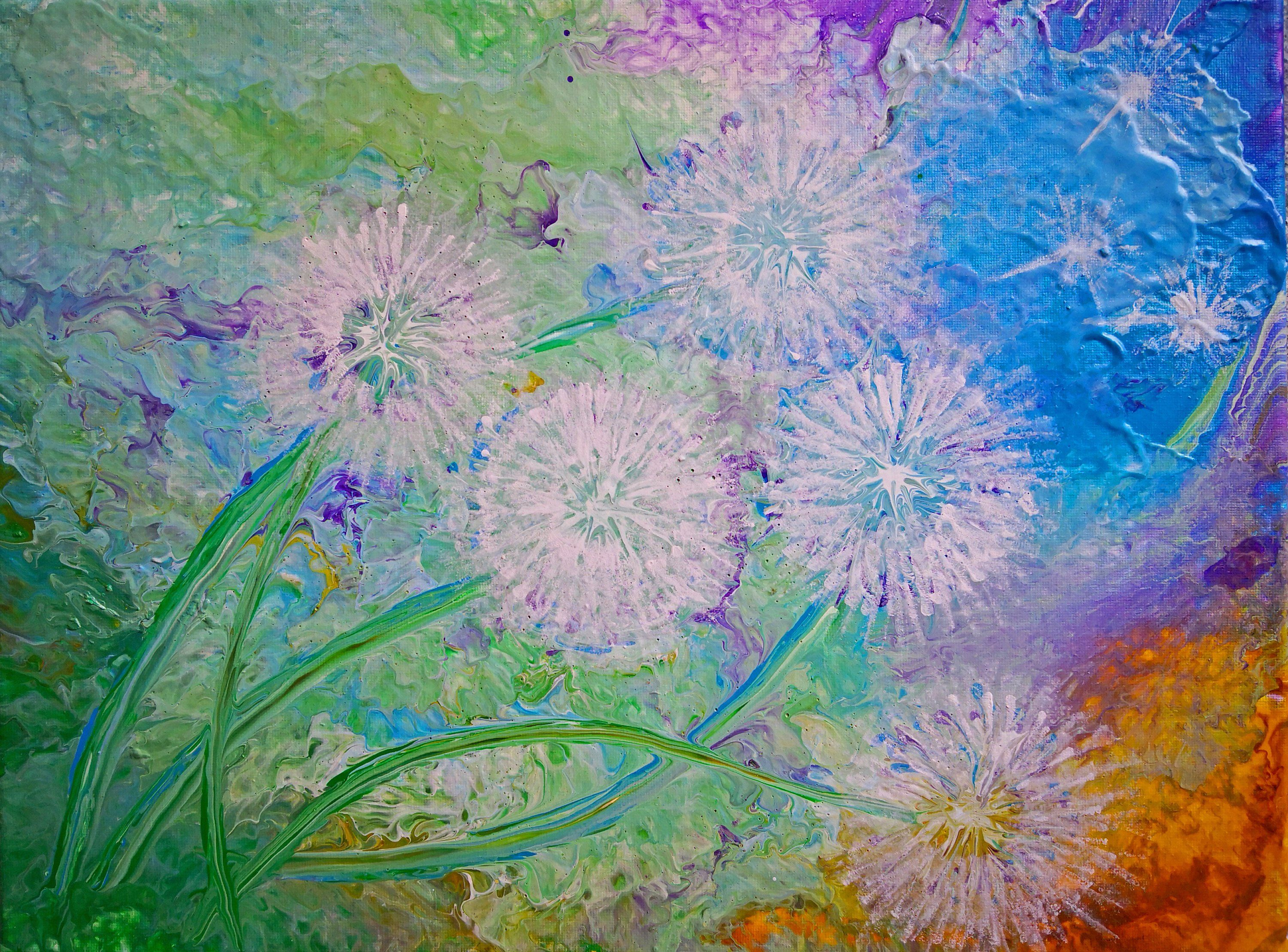 abstract acrylic painting on canvas dandelion field on modern acrylic paintings for living room id=99131
