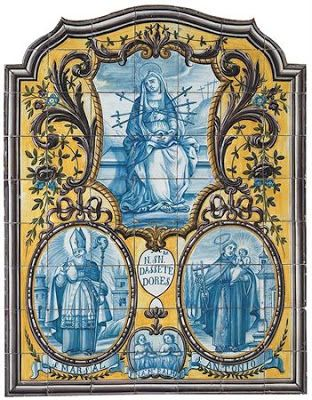 Do Tempo da Outra Senhora: Nossa Senhora no Azulejo Português -  Nossa Senhora das Sete Dores, São Marçal, Santo António com o Menino e Almas do Purgatório (1800).  Painel de azulejos (126 x 98 cm). Real Fábrica de Louça, ao Rato, Lisboa.  Museu Nacional do Azulejo, Lisboa.