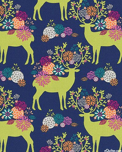 eQuilter Rustique - Yes, Deer - Navy Blue