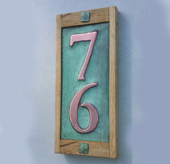 House Number Sign In Real Copper With Limed Oak Frame 2x 3 75mm Or 4 100 Mm High Numbers D Copper House House Numbers Weathered Oak