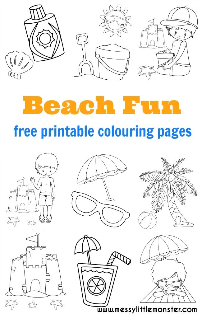 Beach Colouring Pages To Download For Free And Print Out A Great Activity Keep The Kids Busy This Summer Seaside Themed Printables In Set