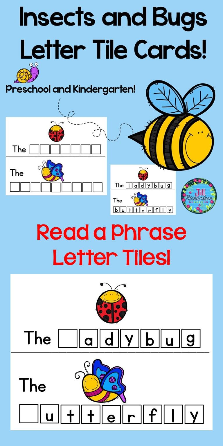 Insects and Bugs Letter Tile Cards!   April Elementary   Insect