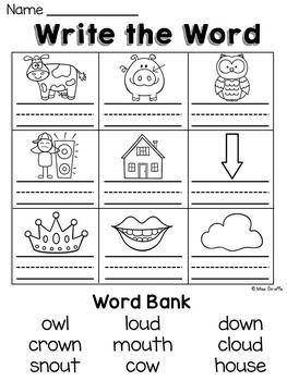Vowel Team (oa-oe-ow / a-e-w sounds like o) Printables (Color and ...
