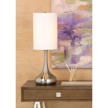 Brushed Nickel Droplet Table Lamp With Cylinder Shade V4325 Lamps Plus Modern Table Lamp Design Table Lamp Lamp