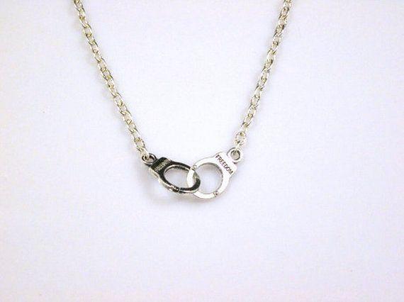 Handcuff Choker Necklace in Silver by pinkfreakk on Etsy, $7.00