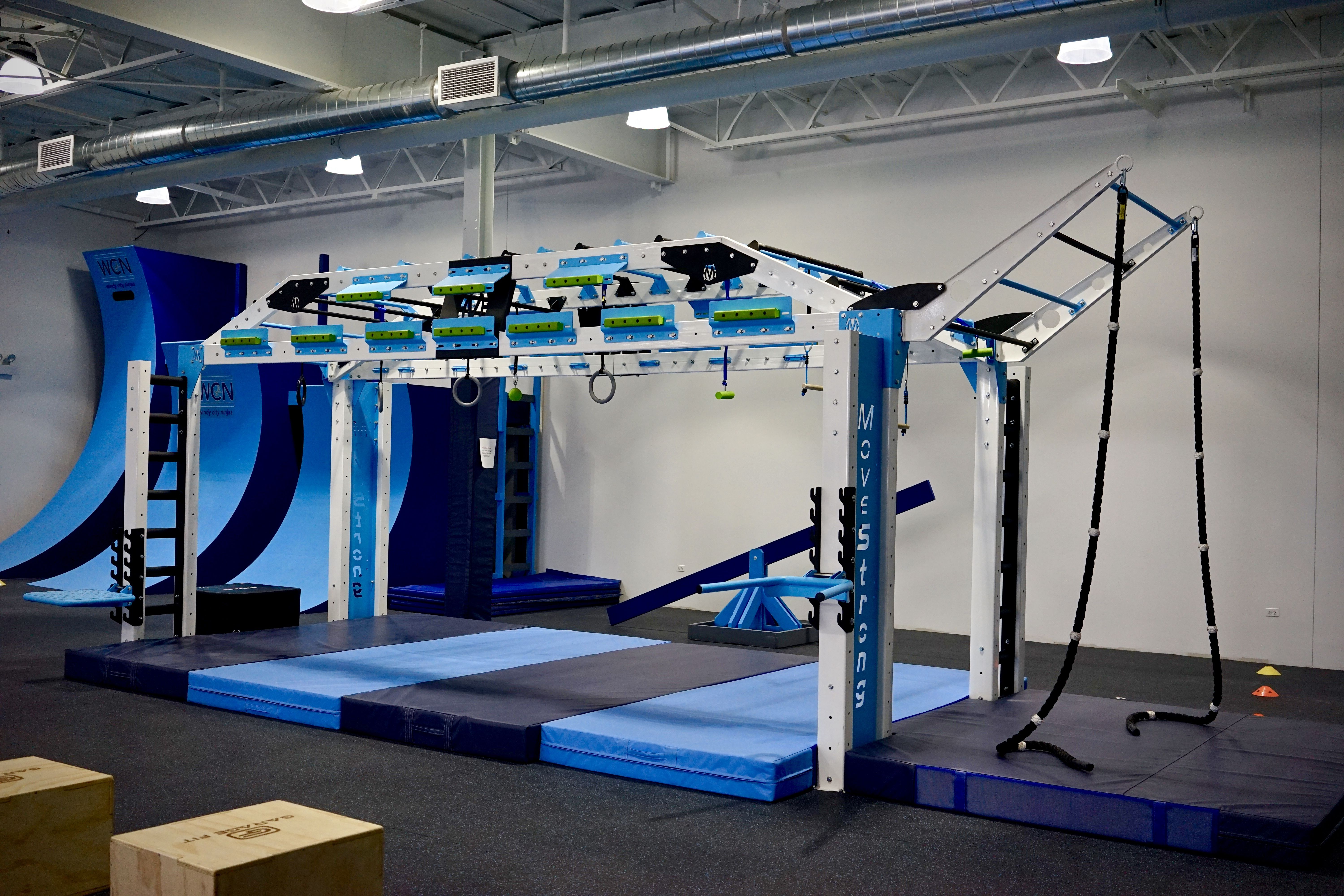 Custom colors and training features for ninja warrior gym