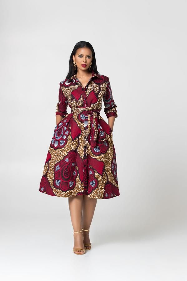 African Print Mathilde shirt Dress #africanprintdresses