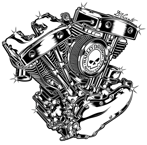 Harley Davidson Motor Artwork By David Vicente