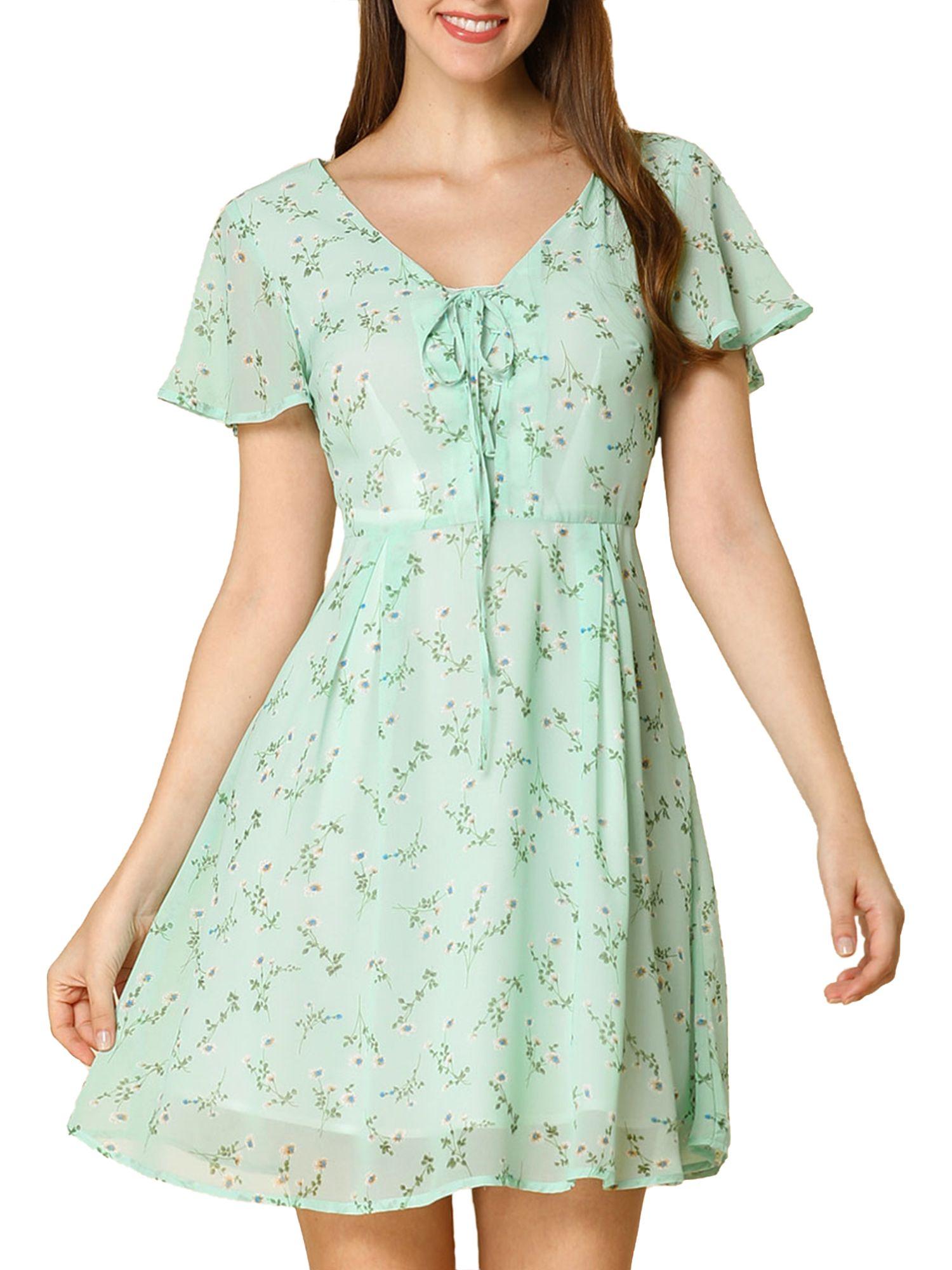 Unique Bargains Women S Floral Flouncing Sleeve V Neck A Line Chiffon Dress Walmart Com Floral Dress Casual Floral Dresses Long Dresses [ 2000 x 1500 Pixel ]