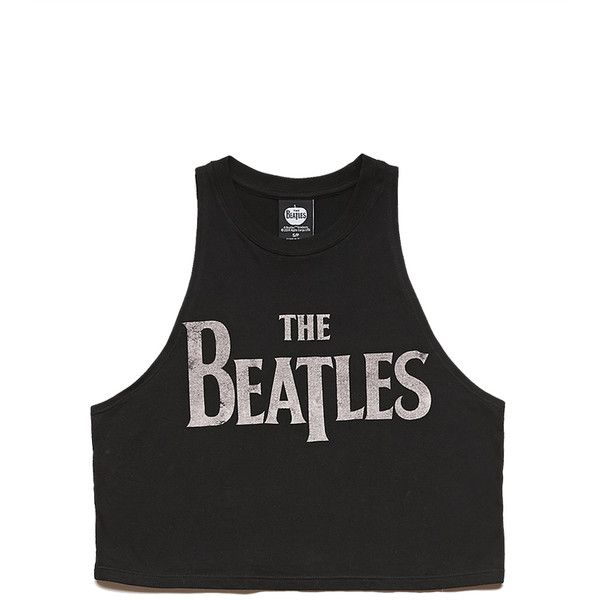 Forever 21 Women's  Beatles Muscle Tee (€9,72) ❤ liked on Polyvore featuring tops, shirts, crop tops, graphic tank tops, forever 21 shirts, muscle tshirt, lightweight shirt and rock tank tops
