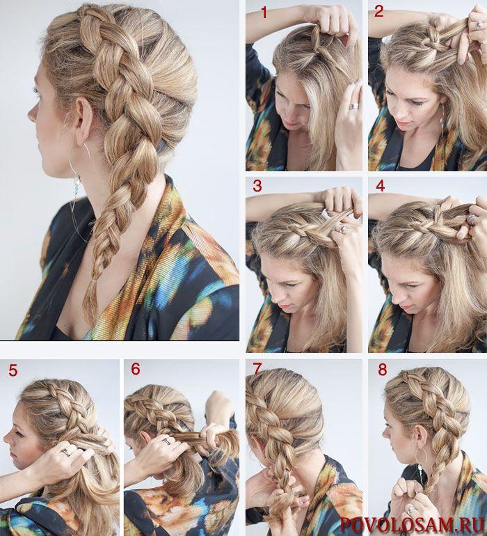 плетение французской косы наоборот пошагово фото