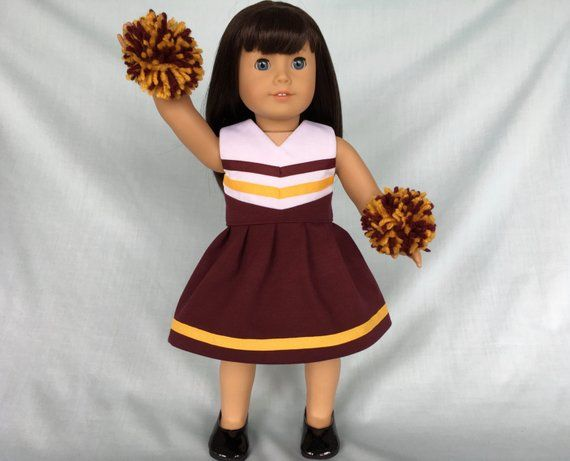 Burgundy and Gold Cheerleader/Cheer Dress for American Girl/18 inch doll #18inchcheerleaderclothes