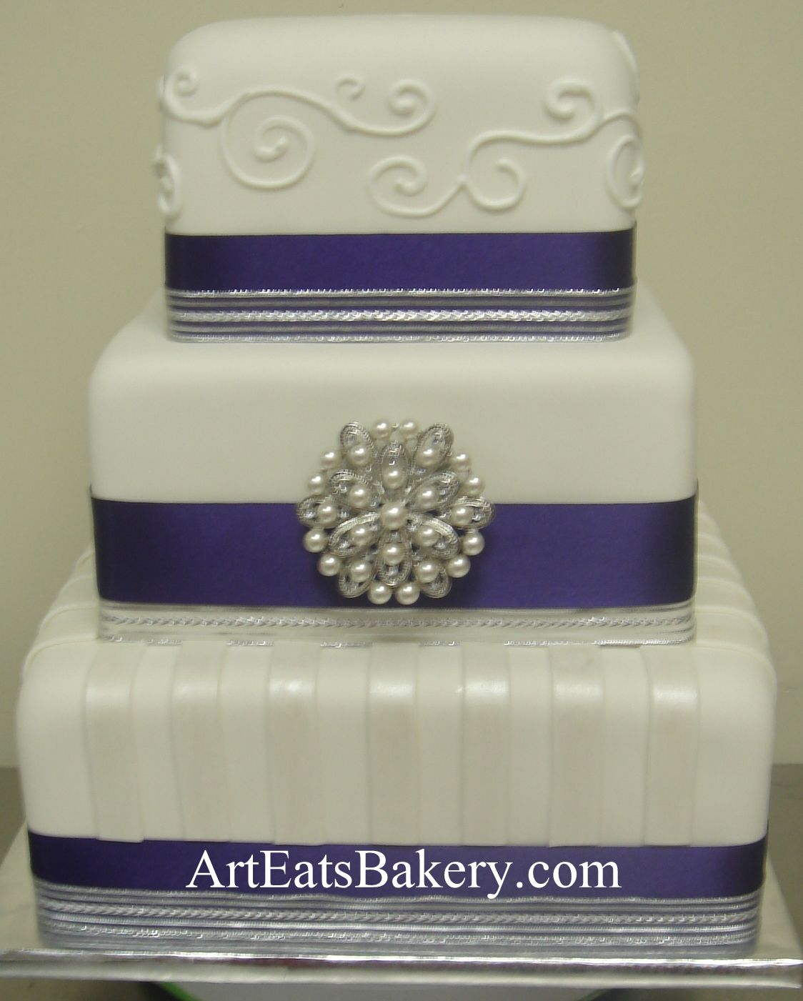 Three tier square white fondant custom modern wedding cake design