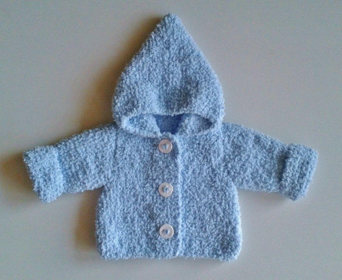Veste à capuche bébé naissance à 12 mois tricotée main en