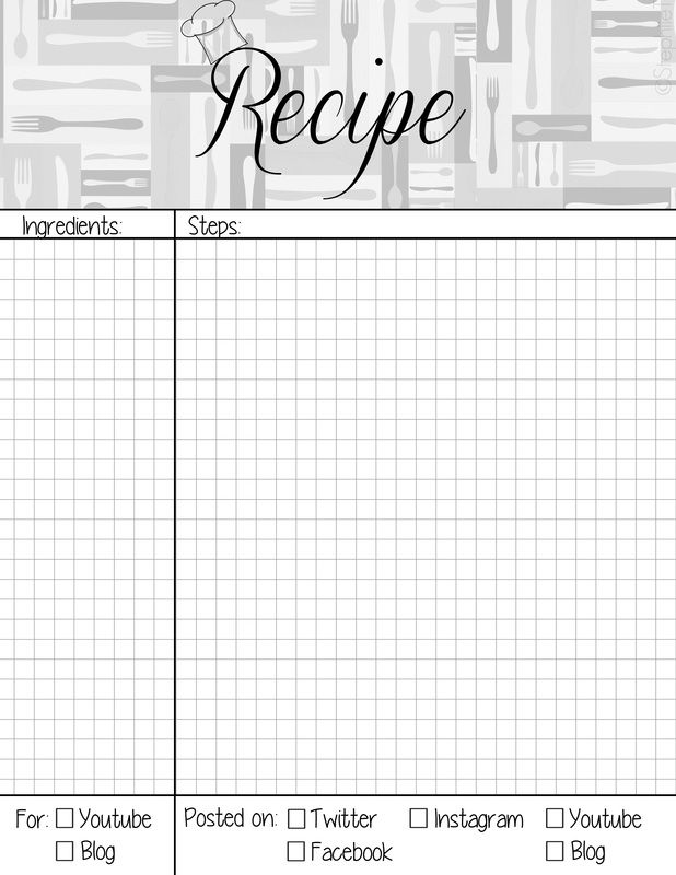 Recipe Book Page Planner Agenda Weekly Template Free Printable For
