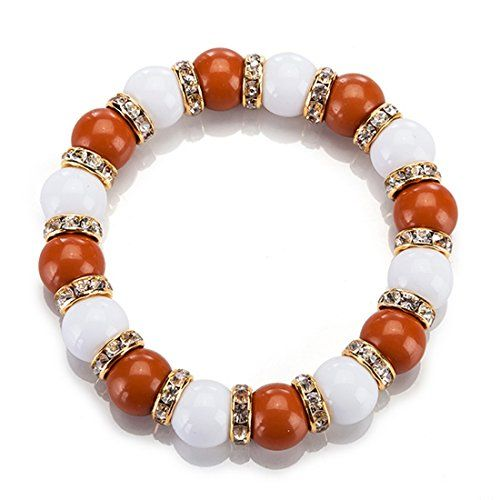 Orange and Clear Beaded Stretchy Bracelet