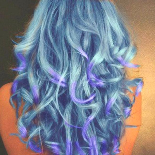 Curled Blue Green Hair W Purple Tips With Images Hair Color