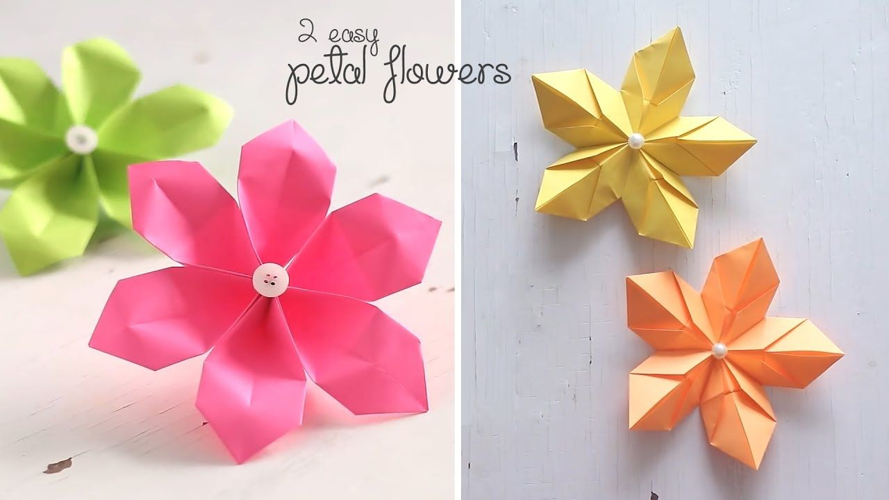 2 Easy Petal Flowers Origami Pinterest Origami Crafty And Craft