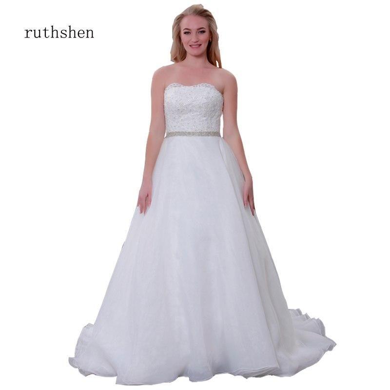 6bbe0a0b58aeb Plus Size Wedding Dresses 2019 2-28W Long Strapless Lace Embroidery Crystal  Big Train Beach Bridal Wedding Gown robe de mariage