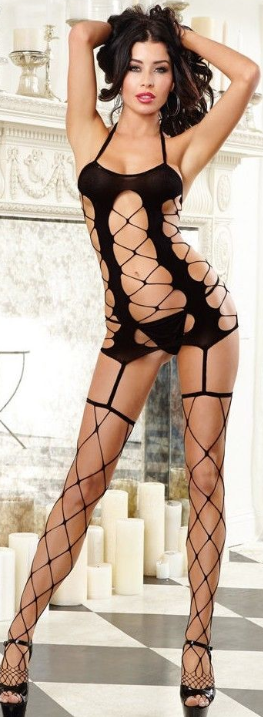 12e32253d8 Dreamgirl Lingerie Fence Net Dress Garters and Fence Thigh Highs Stockings  Black
