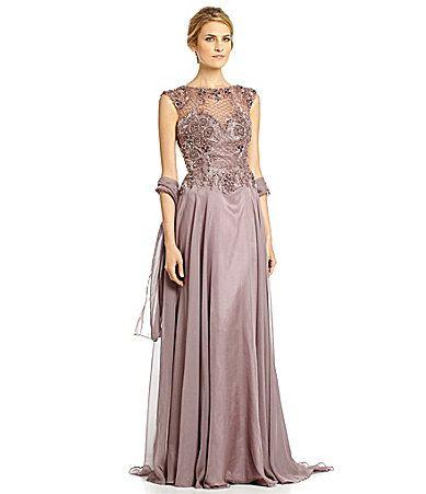Mac Duggal BeadedBodice OpenBack Chiffon Gown #Dillards
