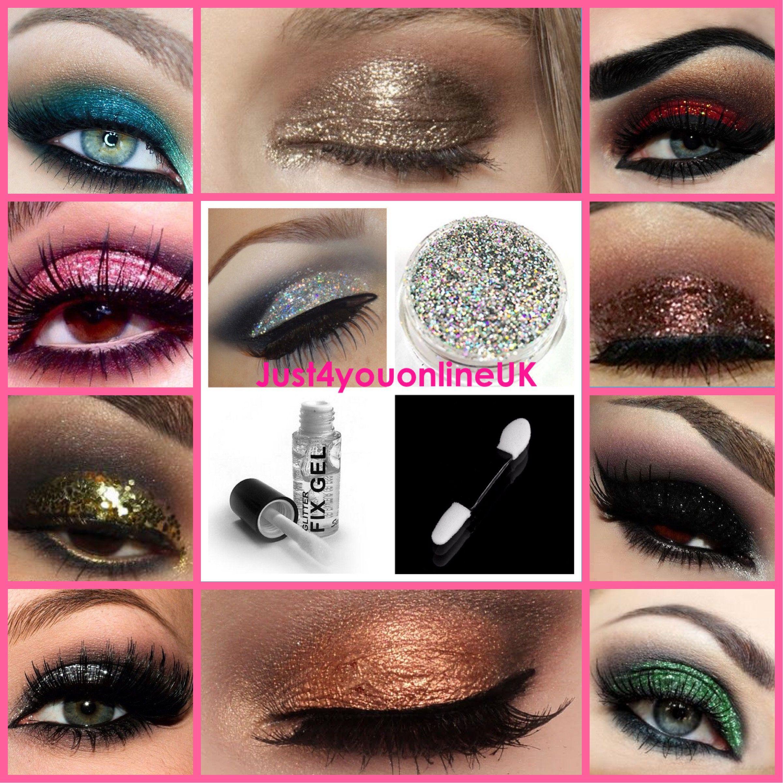 Glitter Eyeshadow Set Kit Glitter Fix Gel and Applicator